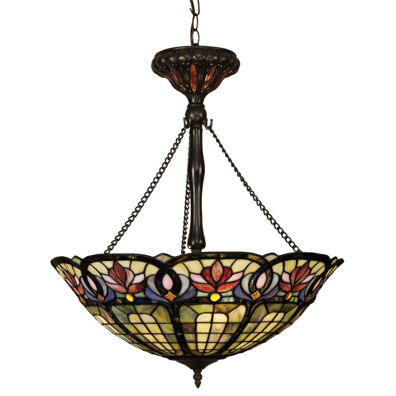 Quoizel TF1438 Tiffany 3 Light Bowl Pendant with Tiffany Stained Glass