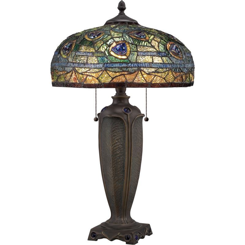 "Quoizel TF1487T Tiffany 2 Light 26"" Tall Table Lamp with Tiffany Glass"