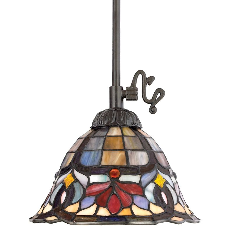 Quoizel TF1536 Tiffany 1 Light Mini Pendant with Tiffany Stained Glass