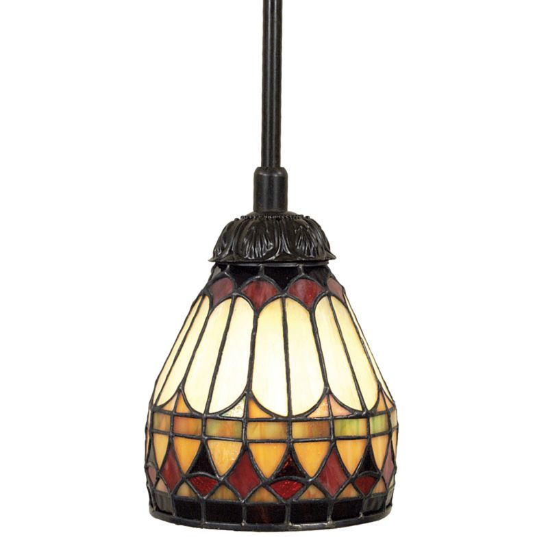 Quoizel TF1541 Tiffany 1 Light Mini Pendant with Tiffany Stained Glass