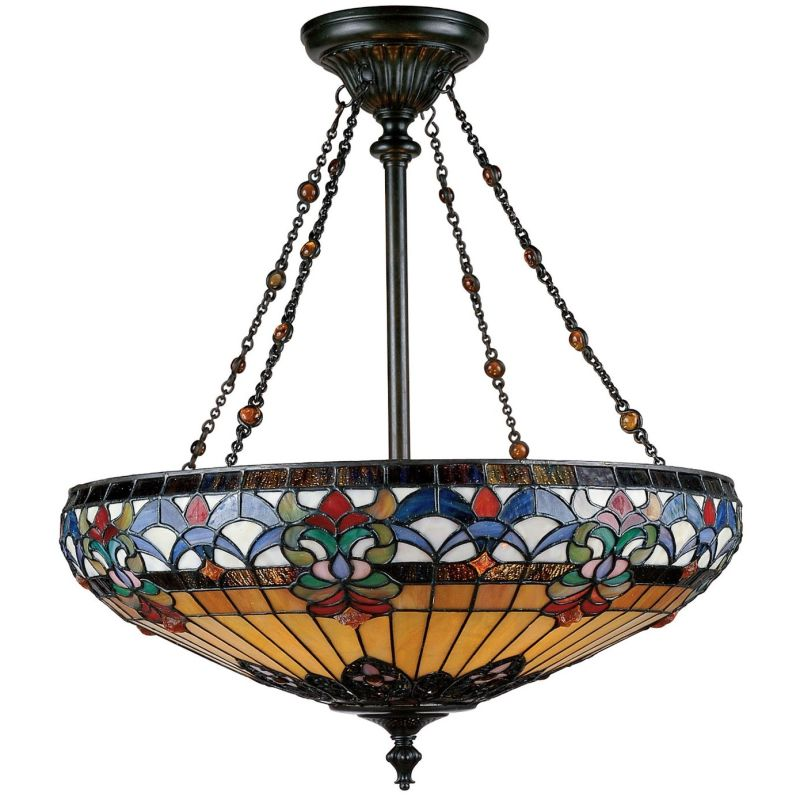 Quoizel TF1781 Belle Fleur 4 Light Bowl Pendant with Tiffany Stained