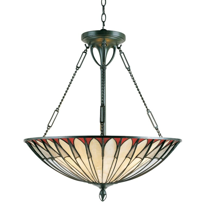 Quoizel TF1816 Tiffany 4 Light Bowl Pendant with Tiffany Stained Glass