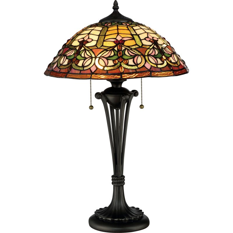 "Quoizel TF2582T Tiffany 2 Light 25"" Tall Accent Table Lamp with"