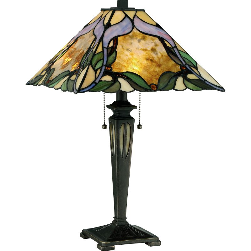 """Quoizel TF2591T Tiffany 2 Light 22"""" Tall Accent Table Lamp with"""