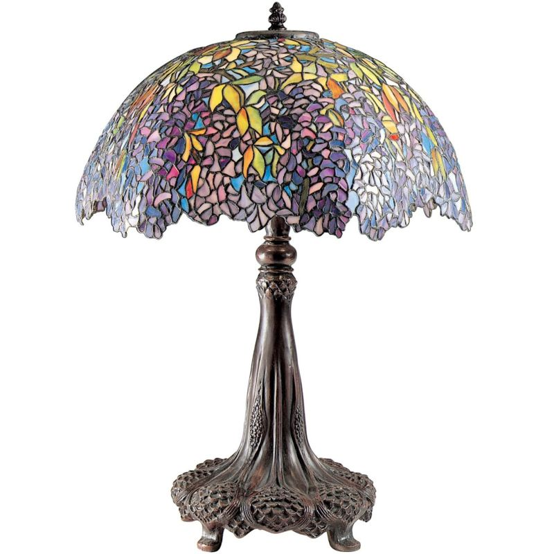 "Quoizel TF6034 Tiffany 3 Light 31"" Tall Table Lamp with Tiffany Glass"