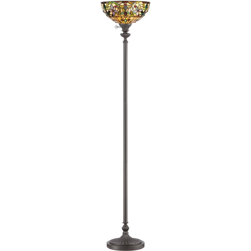 "Quoizel TF878U Kami 1 Light 70"" Tall Torchiere Floor Lamp with Tiffany"