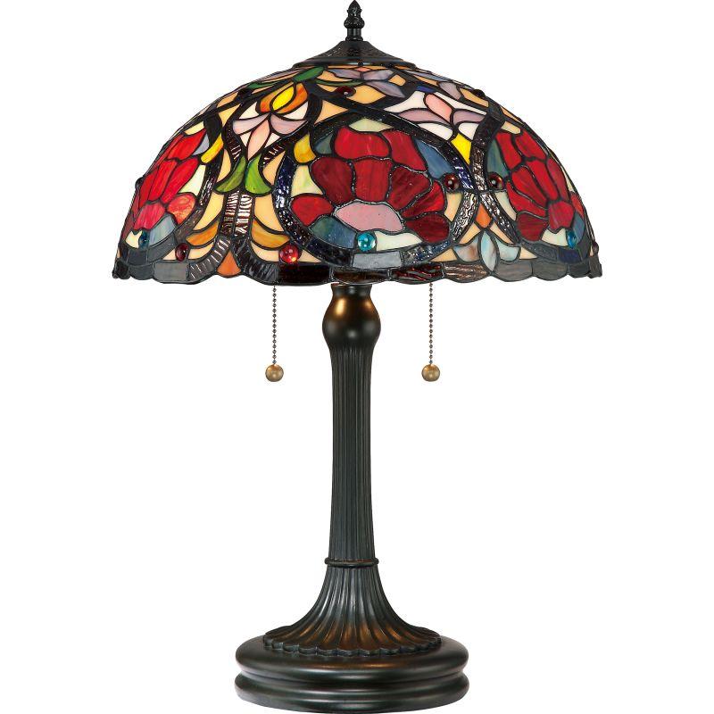"Quoizel TF879T Larissa 2 Light 23"" Tall Table Lamp with Tiffany Glass"