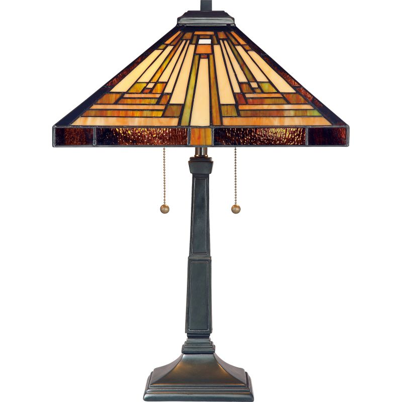 "Quoizel TF885T Stephen 2 Light 23"" Tall Tiffany Table Lamp with Pull"