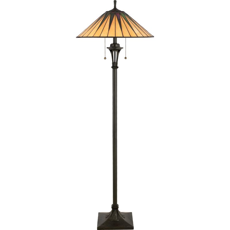 "Quoizel TF9397 Gotham 2 Light 62"" Tall Floor Lamp with Tiffany Glass"