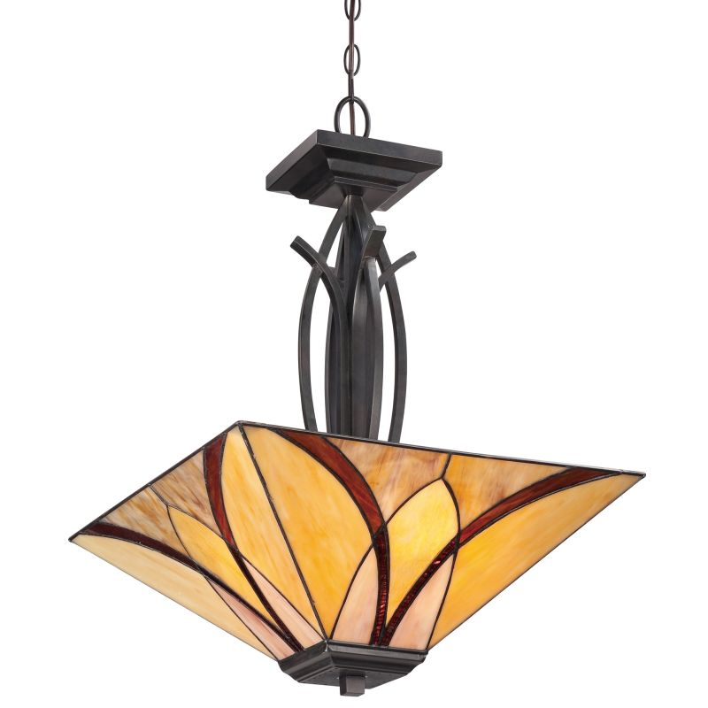 Quoizel TFAS2817 Asheville 3 Light Bowl Pendant with Tiffany Stained