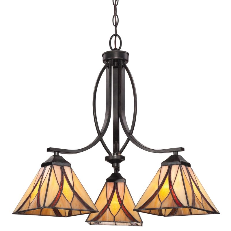 """Quoizel TFAS5003 Asheville 3 Light 23"""" Wide Chandelier with Tiffany"""
