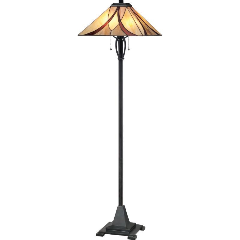 """Quoizel TFAS9360 Asheville 2 Light 60"""" Tall Floor Lamp with Tiffany"""