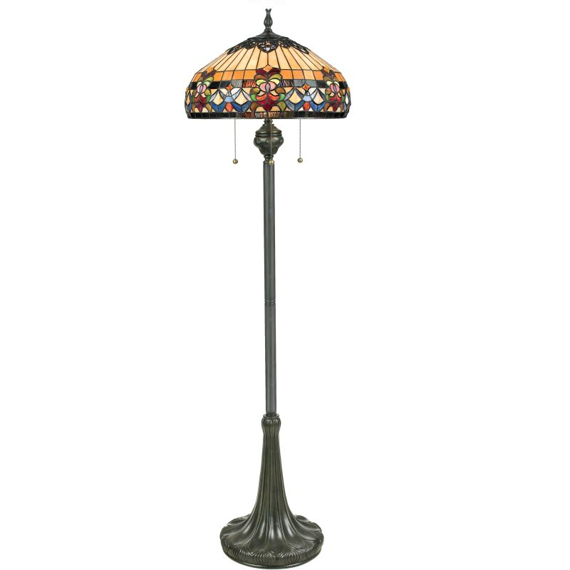 "Quoizel TFBF9362 Belle Fleur 3 Light 62"" Tall Floor Lamp with Tiffany"
