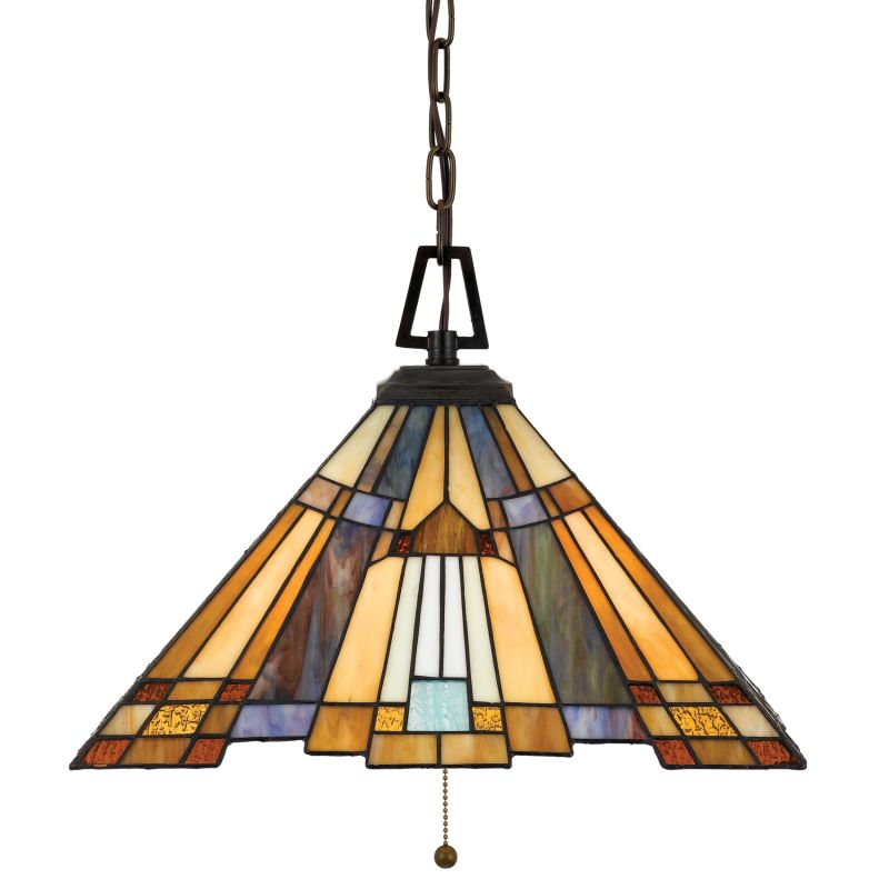 Quoizel TFIK1817 Inglenook 3 Light Pendant with Tiffany Stained Glass