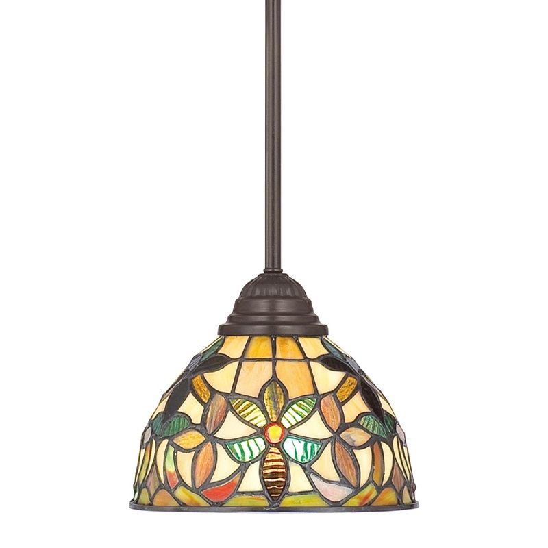 Quoizel TFKM1508 Kami 1 Light Mini Pendant with Tiffany Stained Glass