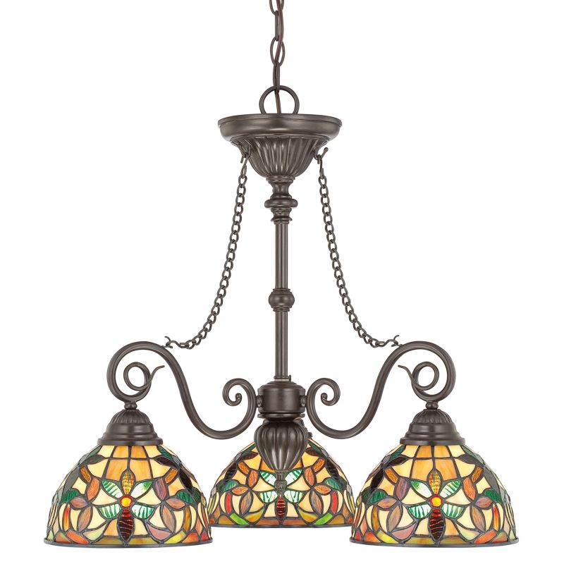 "Quoizel TFKM5103 Kami 3 Light 25"" Wide Chandelier with Tiffany Glass"