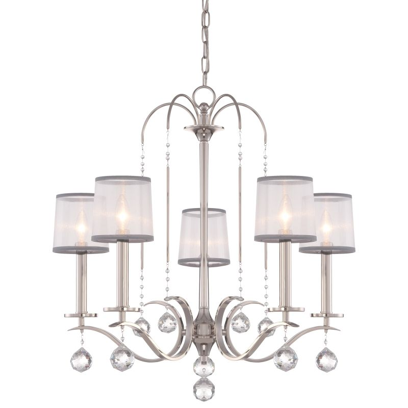 Quoizel WHI5005 Whitney 5 Light Single Tier Chandelier Imperial Silver