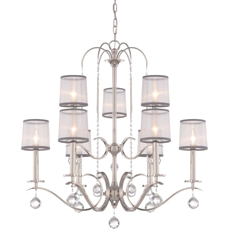 Quoizel WHI5009 Whitney 9 Light 2 Tier Chandelier Imperial Silver