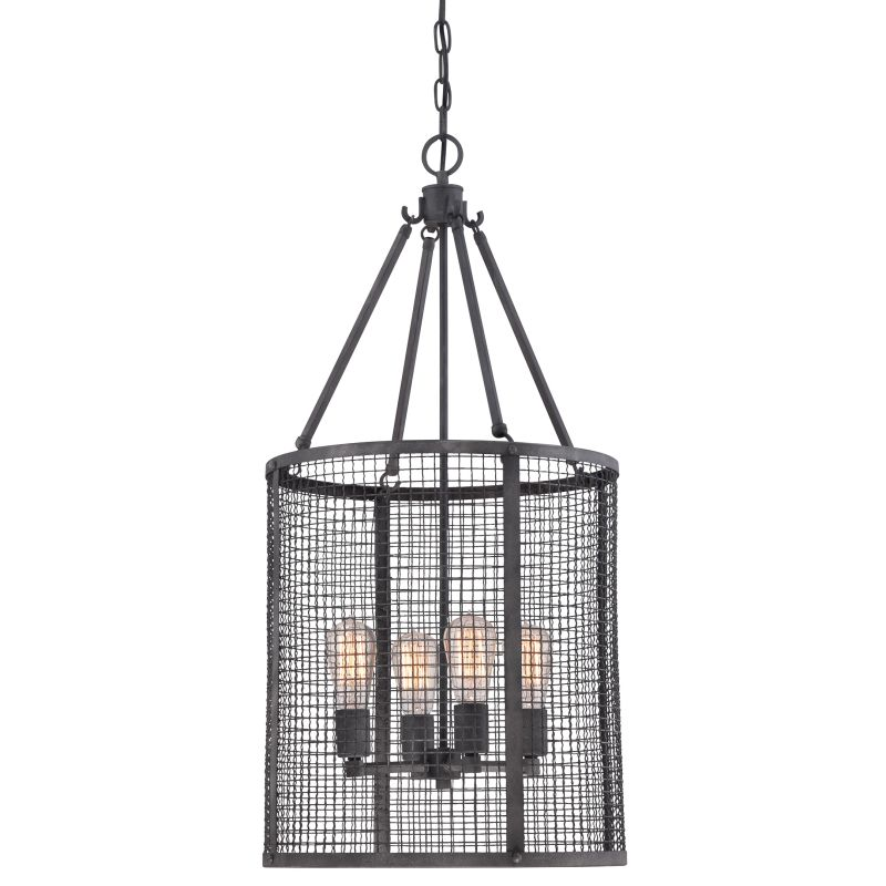 Quoizel WLR5204 Wilder 4 Light Single Tier Chandelier Mottled Black
