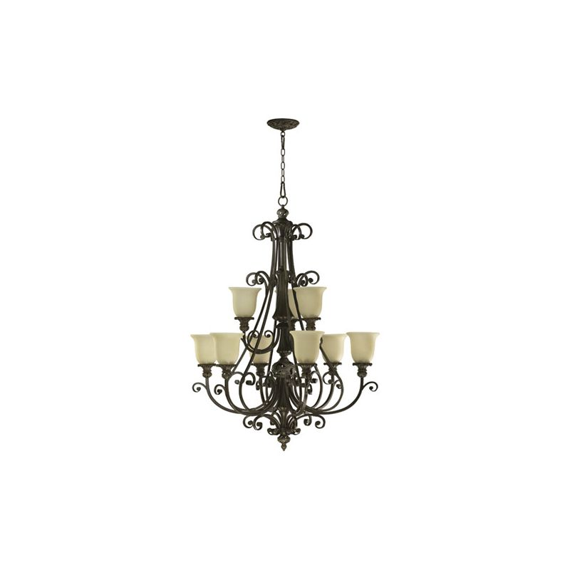 Quorum International 6032-9 Fulton 9 Light 1 Tier Chandelier Bronze