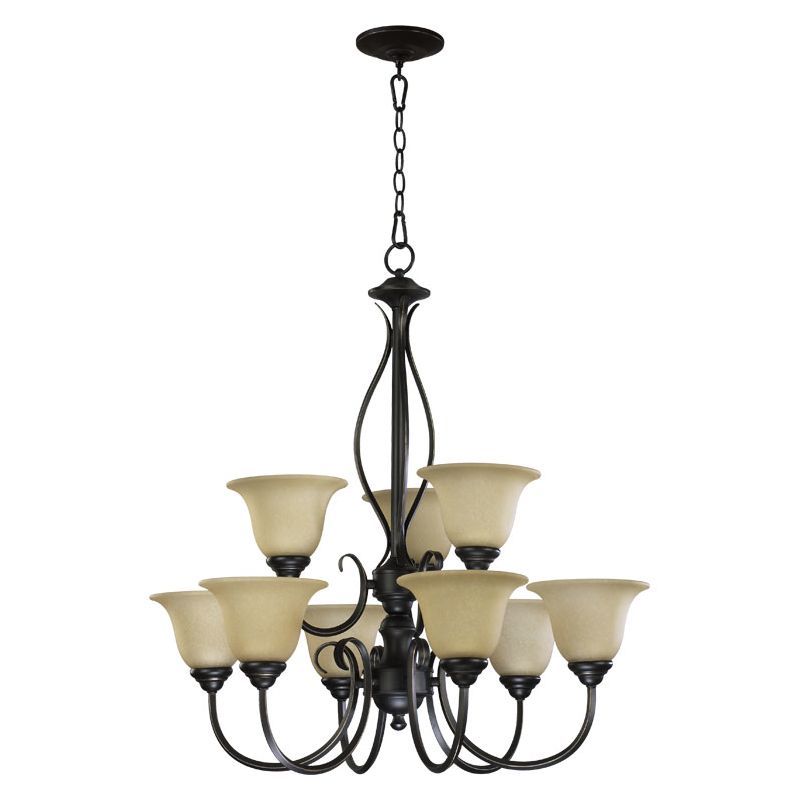 "Quorum International 6010-9 Spencer 9 Light 29"" Wide Chandelier with"