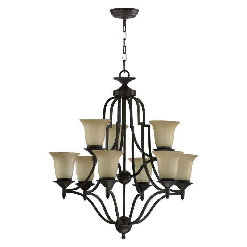 Quorum International 615-9 Coventry 9 Light 2 Tier Chandelier Toasted