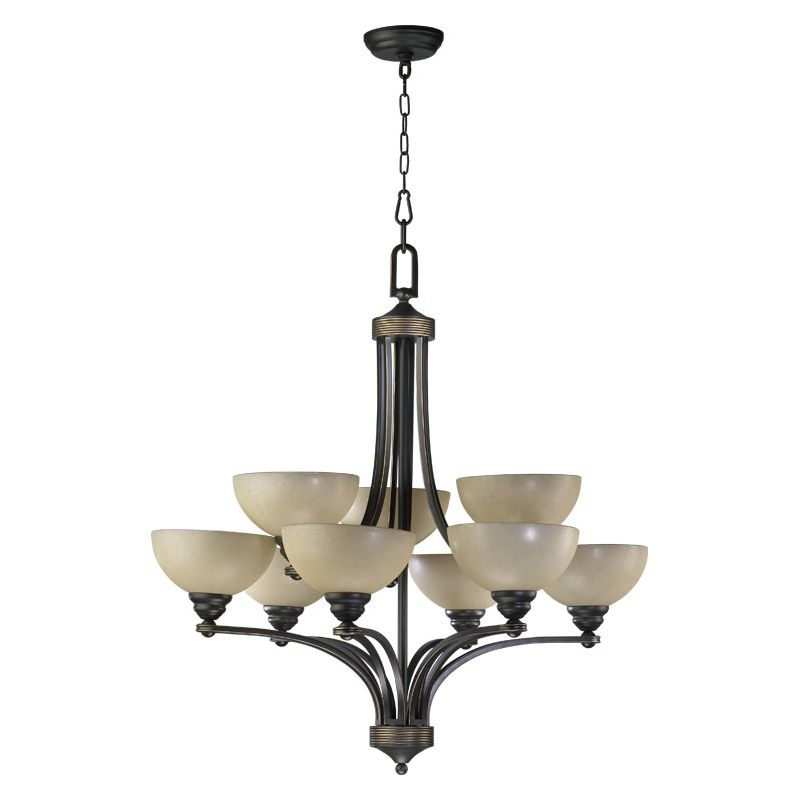 Quorum International Q620-9 Hemisphere 9 Light 2 Tier Chandelier Old