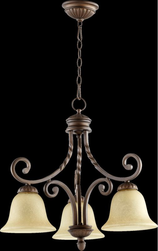 Quorum International 6478-3 Tribeca II 3 Light 1 Tier Chandelier Oiled