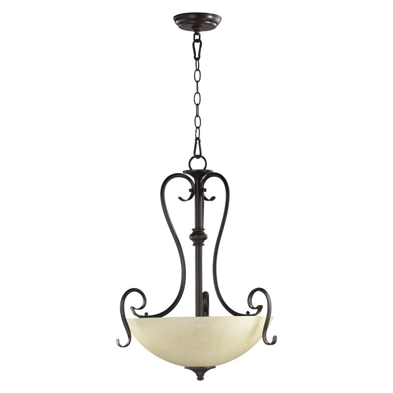 Quorum International 8108-3 Powell 4 Light Bowl Shaped Pendant Toasted