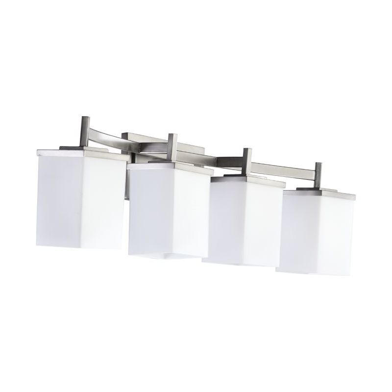Delta Bathroom Vanity Lights : Quorum International 5084-4-65 Satin Nickel Delta 4 Light Bathroom Vanity Light - LightingDirect.com