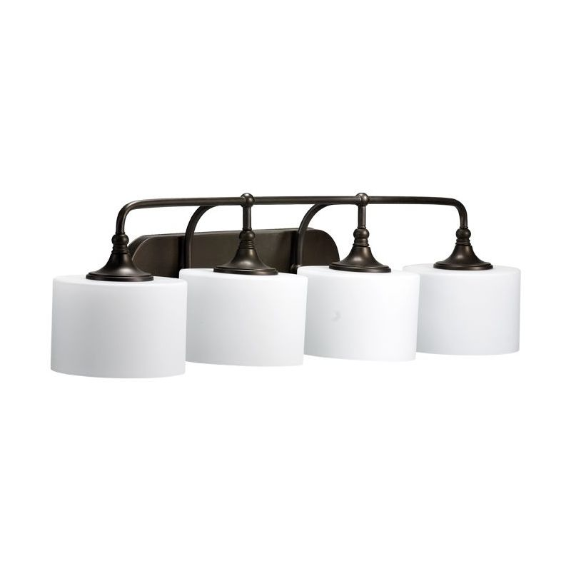"""Quorum International 5090-4 4 Light Down Lighting Vanity Fixture from Sale $179.00 ITEM: bci1703704 ID#:5090-4-86 Product Features: Finish: Satin Nickel , Light Direction: Down Lighting , Width: 35.5"""" , Height: 9.25"""" , Genre: Transitional , Bulb Type: Compact Fluorescent, Incandescent , Number of Bulbs: 4 , Fully covered under Quorum International warranty , Location Rating: Indoor Use :"""