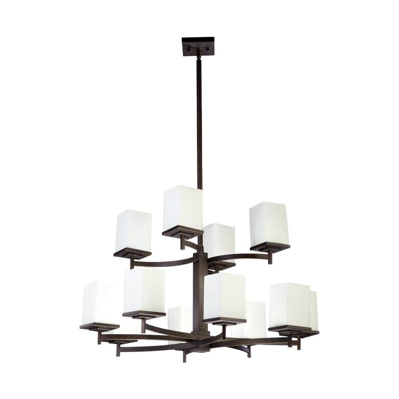 Quorum 6084-12-86 Oiled Bronze Contemporary Delta Chandelier