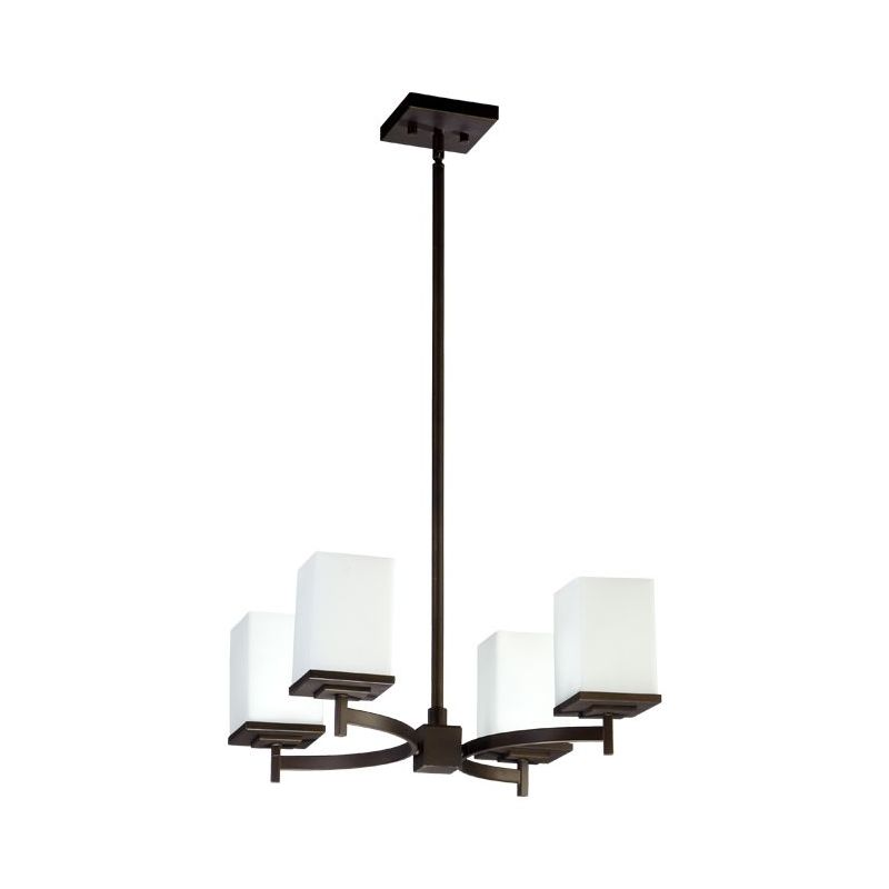 Quorum 6084-4-86 Oiled Bronze Contemporary Delta Chandelier