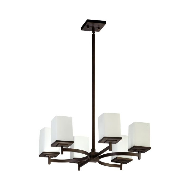 Quorum 6084-6-86 Oiled Bronze Contemporary Delta Chandelier
