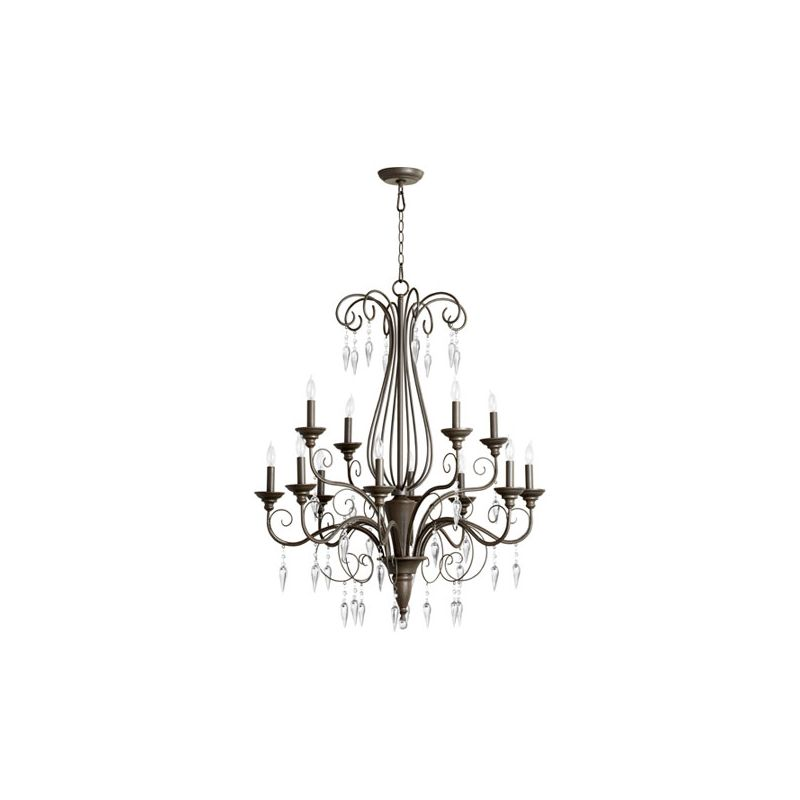 Quorum International 6001-12 Vesta 12 Light 2 Tier Chandelier Oiled