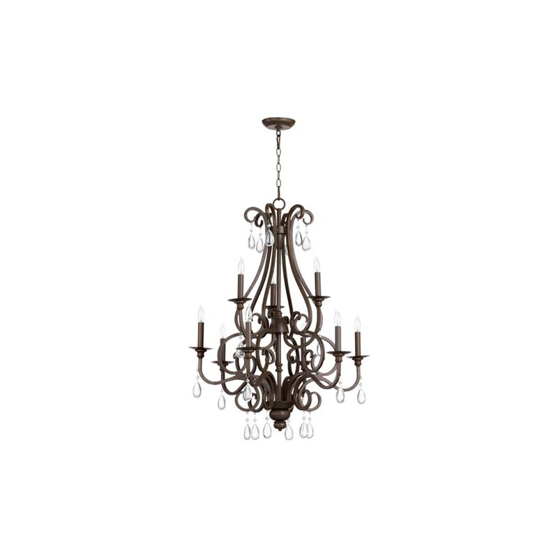 Quorum International 6013-9 Anders 9 Light 2 Tier Chandelier Oiled