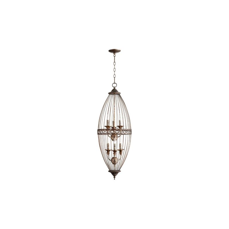 Quorum International 6771-6 6 Light Full Sized Pendant with Metal Oval