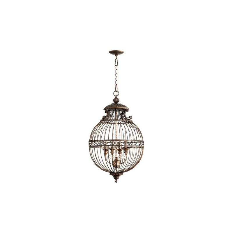 Quorum International 6773-4 4 Light Lantern Pendant with Metal Globe