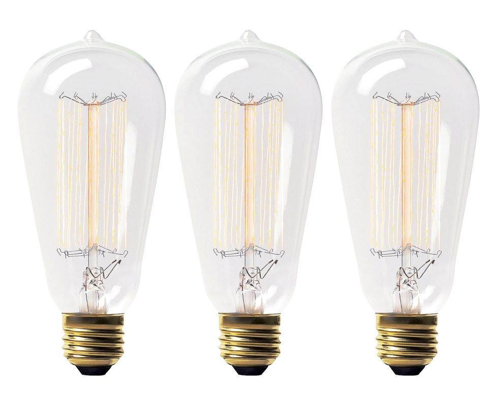 Ren Wil LB001-3 Pack of 3 60 Watt Vintage Edison Light Bulbs Clear