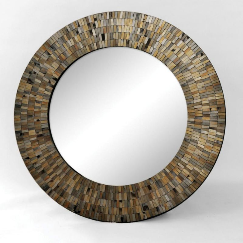 """Ren Wil MT1346 24"""" High by 24"""" Wide Aventurine Mirror Black Mosaic"""