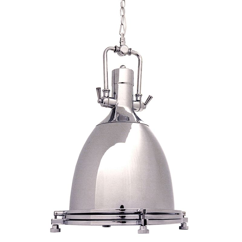 Ren wil lpc069 chrome norwich 1 light industrial pendant for Chrome industrial bathroom lighting