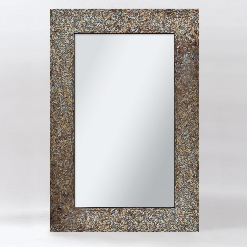 "Ren Wil MT1345 24"" High by 36"" Wide Amber Mosaic Mirror Black Mosaic"