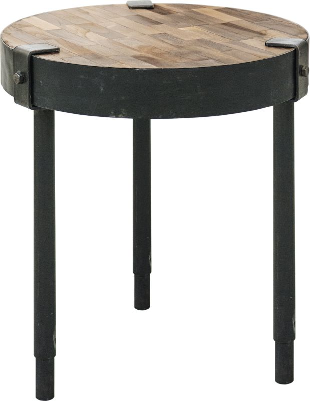 "Ren Wil TA097 Seebach 18"" Tall Accent Table Rusted Metal / Weathered"