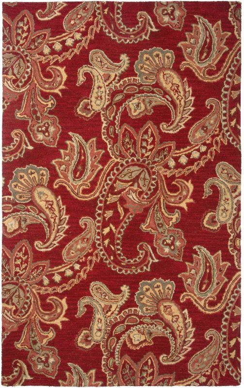 Rizzy Home AL2651 Ashlyn Hand-Tufted New Zealand Wool Rug Red 5 x 8
