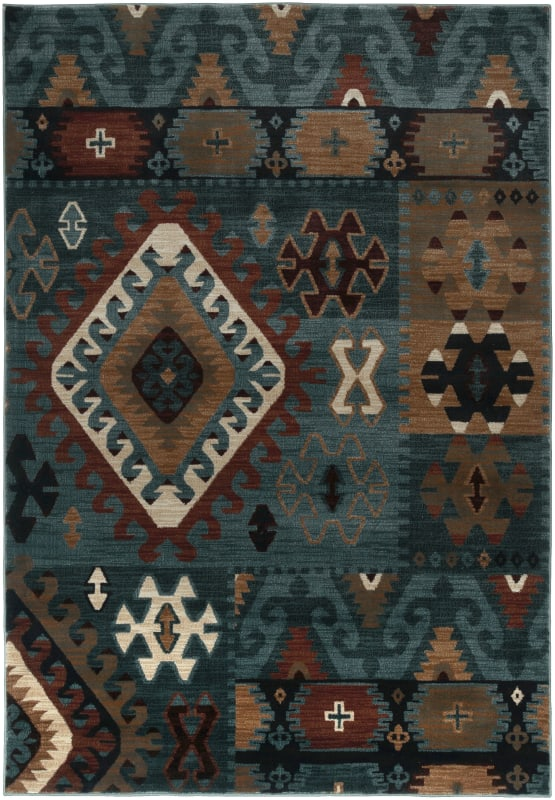 Rizzy Home BV3704 Bellevue Power Loomed Polypropylene Rug Blue 5 1/4 x