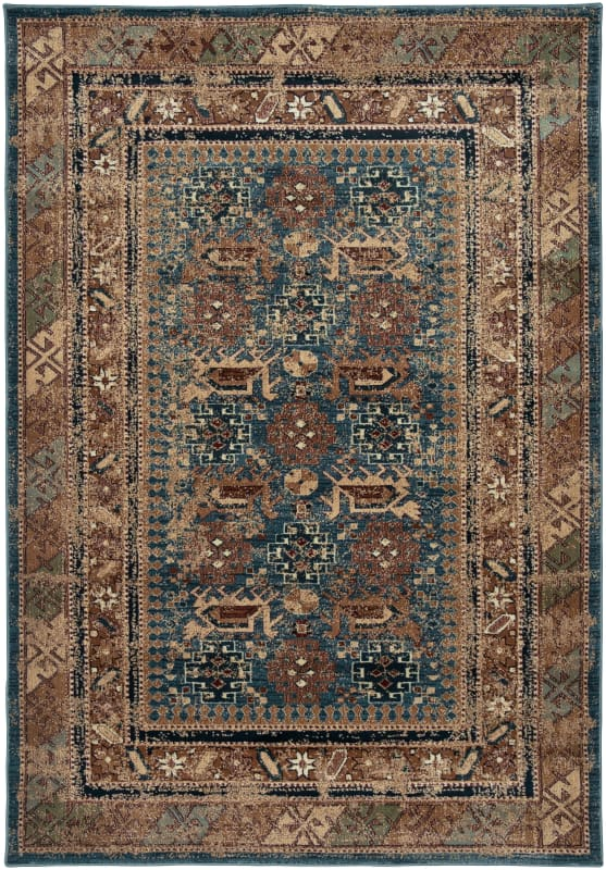 Rizzy Home BV3728 Bellevue Power Loomed Polypropylene Rug Blue 9 1/4 x
