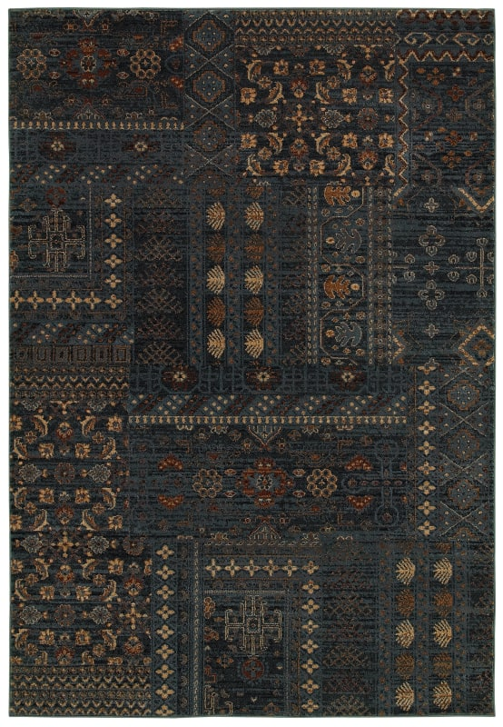 Rizzy Home BV3954 Bellevue Power Loomed Polypropylene Rug Blue 5 1/4