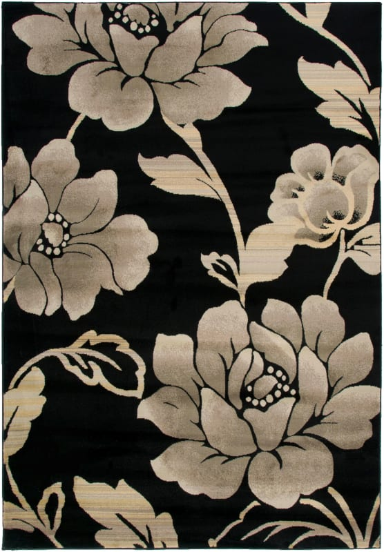 Rizzy Home BS3588 Bayside Power Loomed Polypropylene Rug Black 5 1/4 x