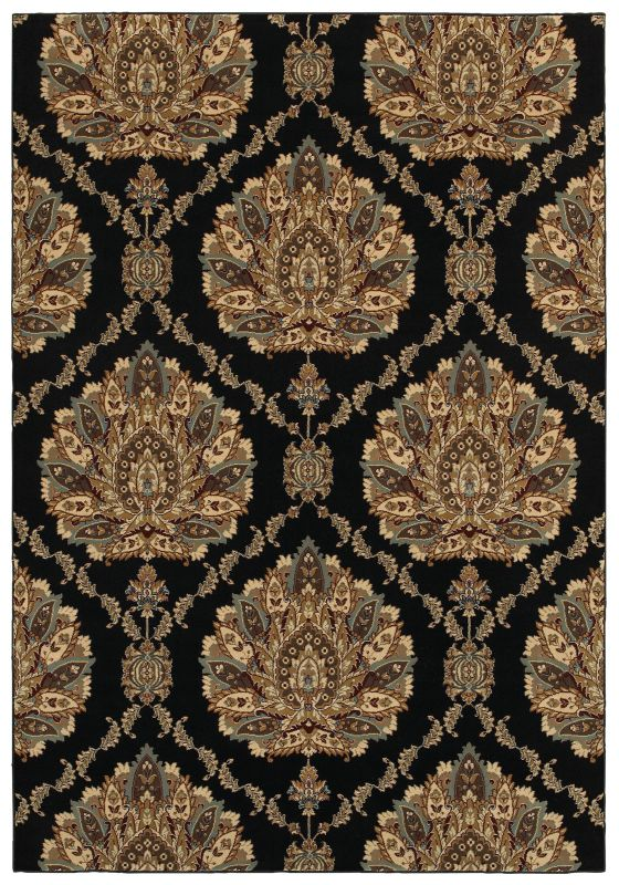 Rizzy Home CH4238 Chateau Power Loomed Polypropylene Rug Black 2 1/4