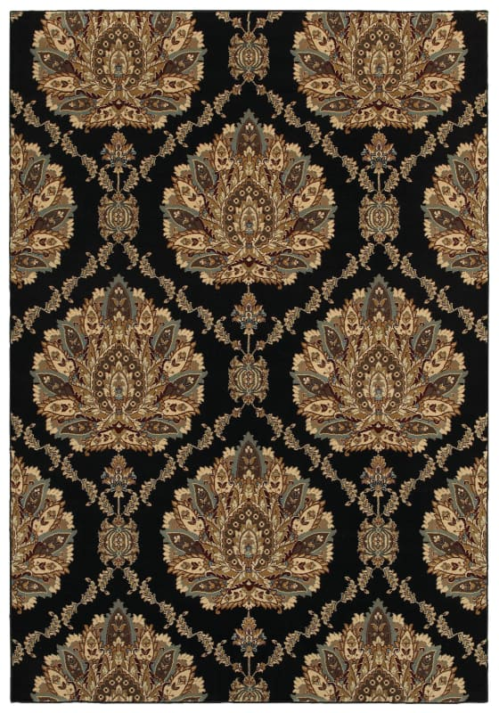 Rizzy Home CH4238 Chateau Power Loomed Polypropylene Rug Black 3 1/4